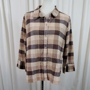 Christopher&Banks Brown Patterned Buttondown Shirt